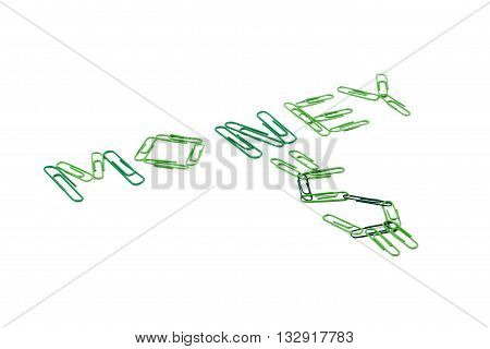 money word made of paperclips isolated on white background