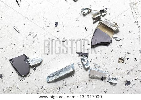 pieces of glass isolated on white background