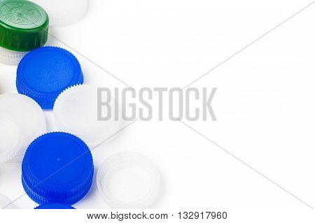 plastic bottle caps for recycle isolated on white background