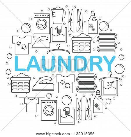 Icons set laundry. Round banner with icons in the style of a laundry line. Icons laundry placed inside a circle on a white background. Vector illustration.