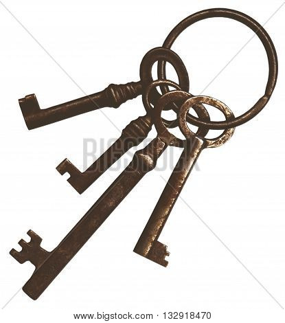 a bunch of old vintage keys isolated on white background