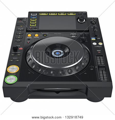 Digital dj turntable mixer with buttons control parameters. 3D graphic