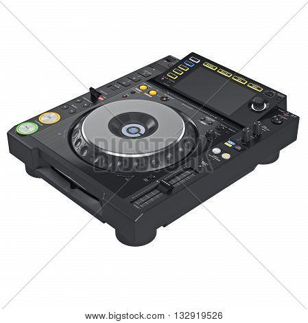 Black dj mixer table, digital display. 3D illustration.