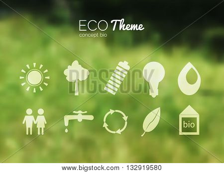 Vector blurred landscape, forest, ecology icons, nature view. Forest blur background, web and mobile interface template. Eco design with icons.