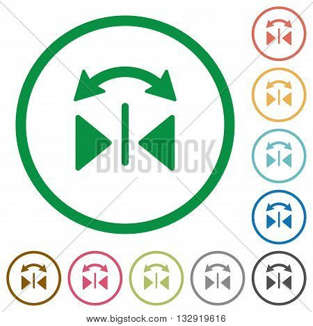 Set of horizontal flip color round outlined flat icons on white background