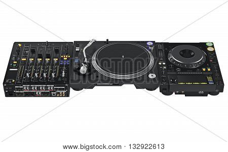 Dj table set mixer, audio equipment from vinyl player and mixers. 3D graphic