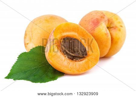 Apricots closeup. Fresh apricots isolated on white background.
