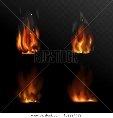 Set of vector realistic fire. Flame illustrations