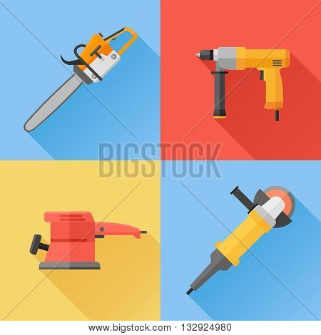 Set of power electric tools flat icons. Chainsaw, hand drill, sander and angle grinder. Vector illustration.