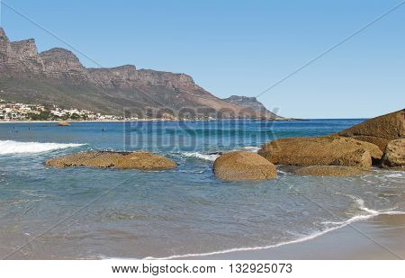 View Of Camps Bay With Big Rocks In Fore Ground, Cape Town South Africa 57