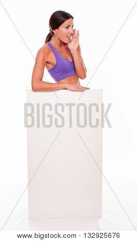 Healthy Shouting Brunette Behind Blank Placard