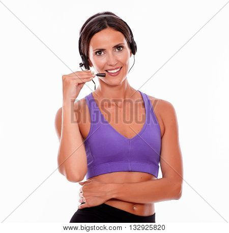 Healthy Smiling Brunette With Head Phones