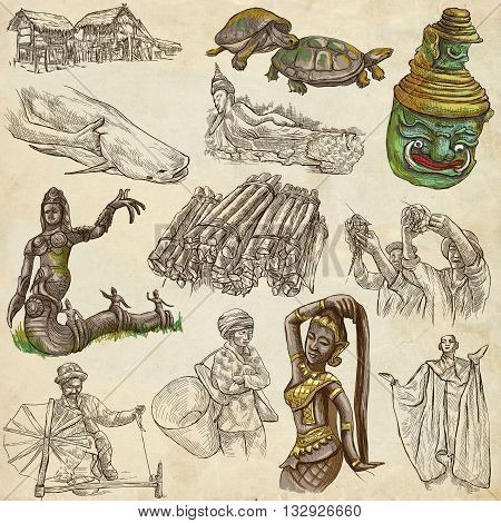 Travel LAOS- Pictures of Life.Collection of an hand drawn colored illustrations - Lao People's Democratic Republic.Pack of full sized hand drawn illustrationsset of freehand sketches.Drawing on paper