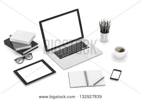 Responsive mockup screens. Laptop, tablet, phone on table. 3d rendering.