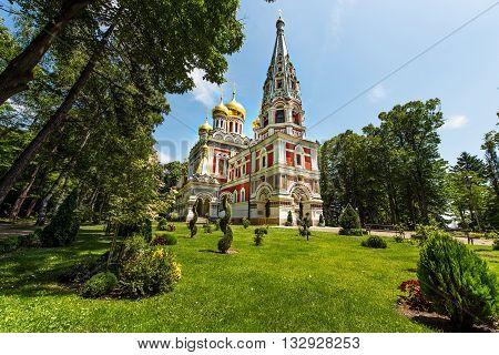 Bulgaria Memorial Church in Shipka. Golden domes.