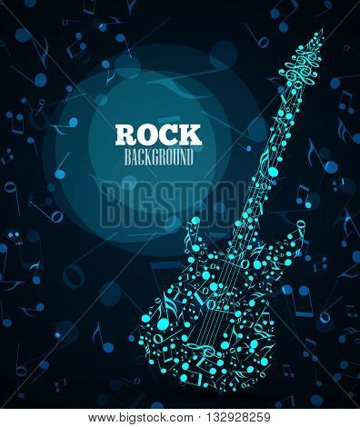 Vector background musical notes in the shape of an electric guitar
