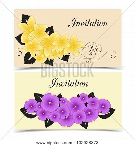Two vector floral greeting card, flower color design