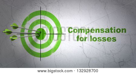 Success currency concept: arrows hitting the center of target, Green Compensation For losses on wall background, 3D rendering