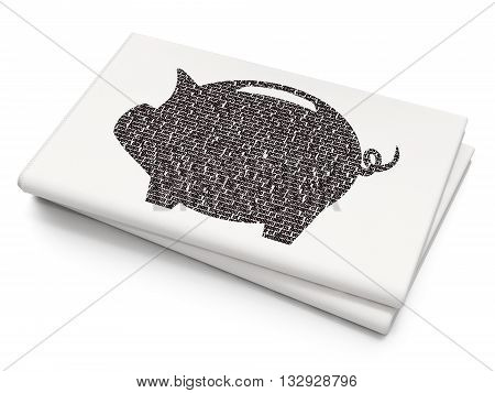 Money concept: Pixelated black Money Box icon on Blank Newspaper background, 3D rendering