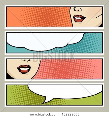 Pop art banner with female lips and blank space for text. Cartoon beautiful woman lips with speech bubbles.Vintage advertising poster. Comic hand drawn vector illustration.