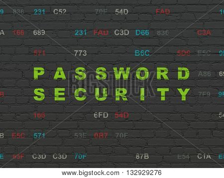 Safety concept: Painted green text Password Security on Black Brick wall background with Hexadecimal Code