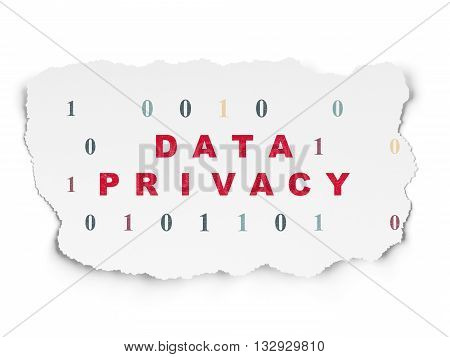 Privacy concept: Painted red text Data Privacy on Torn Paper background with  Binary Code