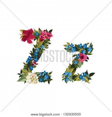 Z letter. Flower capital alphabet. Colorful font. Uppercase and lowercase. Vector illustration. Grotesque style. Floral alphabet.
