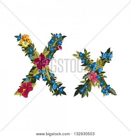X letter. Flower capital alphabet. Colorful font. Uppercase and lowercase. Vector illustration. Grotesque style. Floral alphabet.