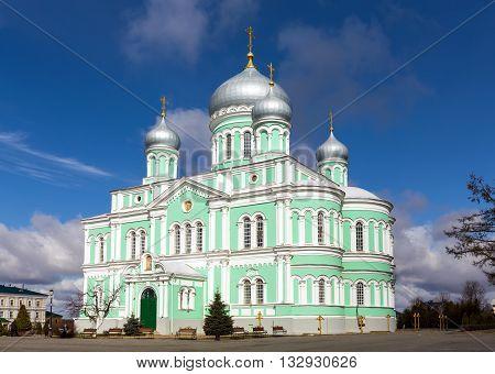 Diveevo, Russia - March 20, 2015: Trinity Cathedral of Holy Trinity-Saint Seraphim-Diveyevo Monastery. Nizhny Novgorod Region. Russia