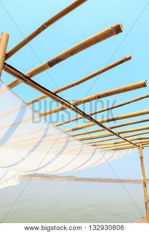 Wooden With Fabric Roof On Blue Sky