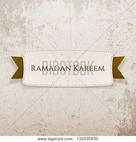 Ramadan Kareem paper Tag with Text and Ribbon. Vector Illustration