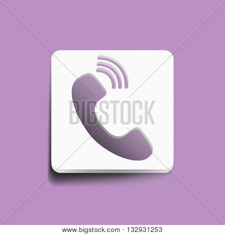 phone icon - vector illustration with long shadow isolated on gray