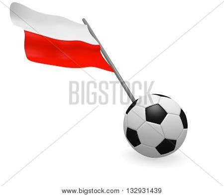 Soccer ball with the flag of Poland on a white background