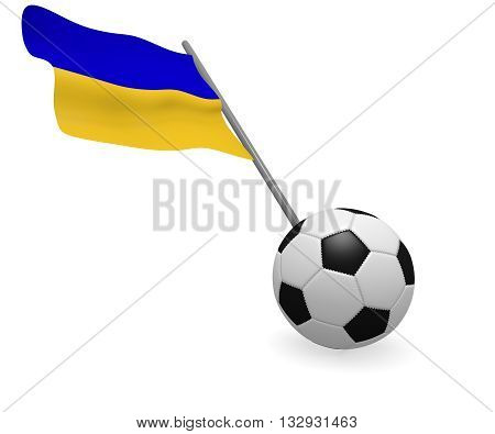 Soccer ball with the flag of the Ukraine on a white background
