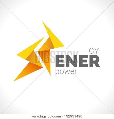 Lighting 2 yellow bolts design Flash Logo design vector element. Fast Quick Power Rapid icon concept symbol. Thunderbolt Logotype icon