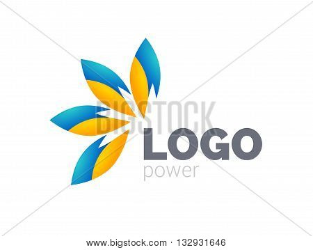 Yellow blue leafs logo design. Four leafs logotype.