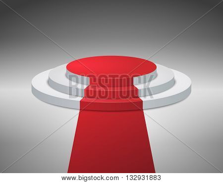 3d Empty white stage podium on gray background for award ceremony. Vector illustration
