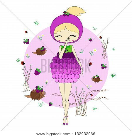 Cute little girl in a suit of blackberry with a toy. Character design illustration. Forest background. Halloween. Masquerade. Print for children. Background for kids