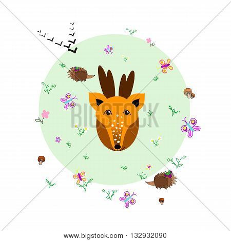 Forest glade with deer, animals and plants. Forest background. Print for children. Background for kids