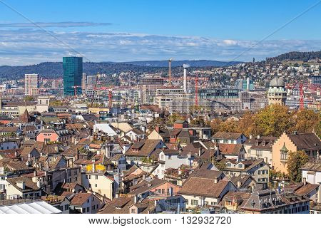 Zurich, Switzerland - 9 October, 2014: view on the city from the tower of the Grossmunster cathedral. Zurich is the largest city in Switzerland and the capital of the Swiss canton of Zurich.