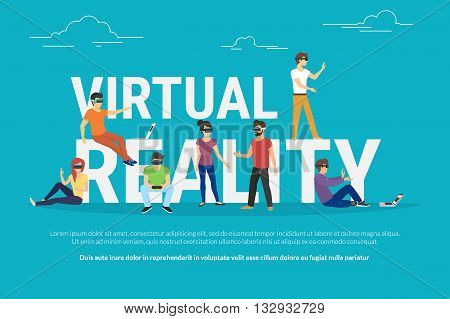 Virtual reality concept illustration of young various people wearing virtual reality helmet for playing game and virtual simulation. Flat design of guys and women standing near big letters