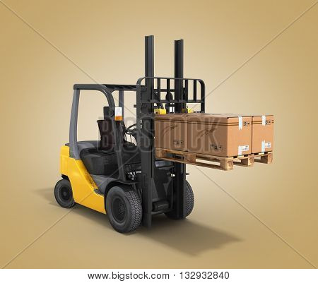 Forklift Loader Raised Pallet Isolated On Gradient 3D Render