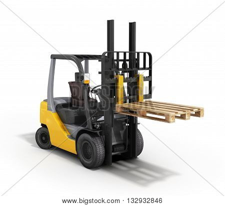 Forklift Loader Raised Pallet Isolated On White 3D Render