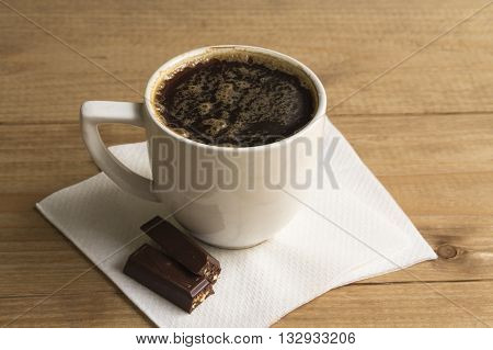 Black Espresso in a Cup on a white background
