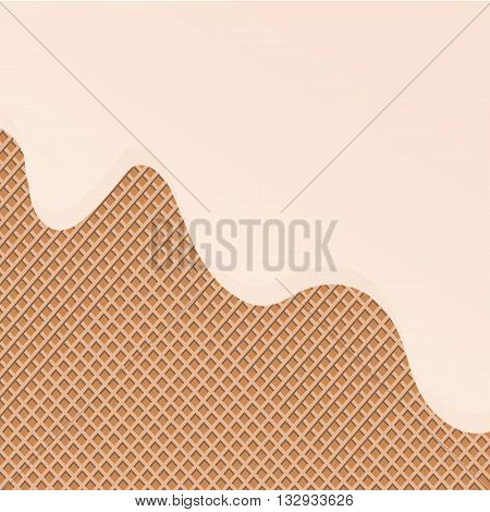 Flowing yellow glaze on wafer texture sweet food vector background abstract. Melt icing ice cream on waffle pattern. Editable - Easy change colors.