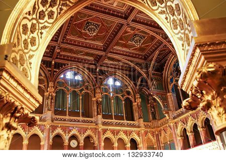 BUDAPEST HUNGARY - MAY 8 2016: Interior view of Parliament Building. The building was completed in 1905 and is in Gothic Revival style.