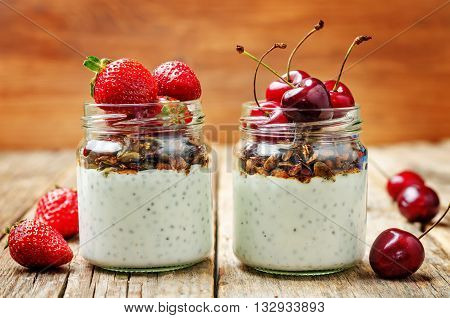 Chia seeds granola Greek yoghurt pudding with berries.