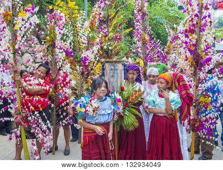 PANCHIMALCO EL SALVADOR - MAY 08 : Salvadorian people participate in the procession of the Flower & Palm Festival in Panchimalco El Salvador on May 08 2016