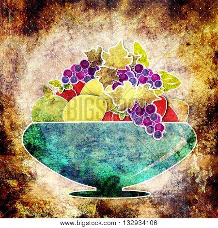 Fruits cartoon background. Vase with fruits. Retro grunge illustration