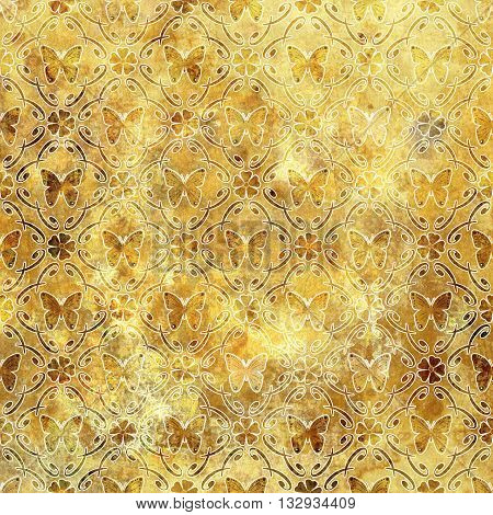 Beautiful pattern grunge old style with butterfly background ornamental